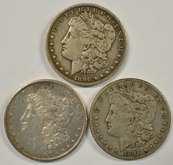 1896-S, 1897-S, & 1898-S Morgan Dollars. Key dates