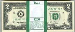 Gem CU $200 Pack 2013 Series $2 Bills in Sequence (L)