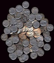 Bag of 125 assorted Full Date Buffalo Nickels