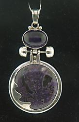 Vintage Large Amethyst Sterling Silver Pendant