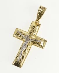 10K Yellow Gold Ornate Two Tone Crucifix Cross Christian Faith Pendant