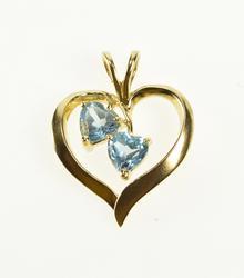 10K Yellow Gold Heart Cut Blue Topaz Wavy Romantic Gift Pendant