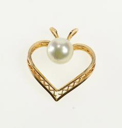 14K Yellow Gold Pearl Curvy Zig Zag Filigree Retro Heart Pendant