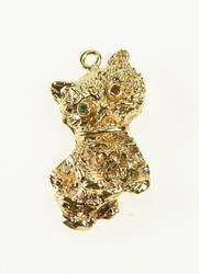 14K Yellow Gold Retro Cat Kitty Kitten Emerald Eye Charm/Pendant