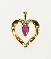 14K Yellow Gold Pear Ruby Diamond Accent Cluster Heart Pendant