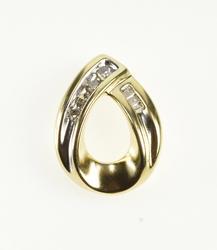 10K Yellow Gold Diamond Inset Pointed Tear Drop Fashion Pendant