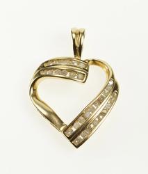 10K Yellow Gold Simple Diamond Channel Inset Wavy Heart Pendant
