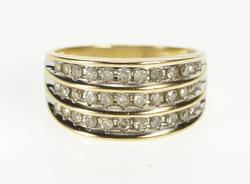 10K Yellow Gold Tiered Diamond Channel Design Fashion Band Ring