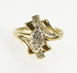 10K Yellow Gold Ornate Marquise Diamond Cluster Freeform Ring