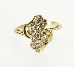 10K Yellow Gold Wavy Diamond Inset Cluster Fashion Ring