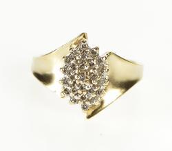 10K Yellow Gold Marquise Diamond Cluster Freeform Fashion Ring