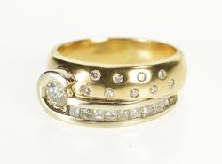 14K Yellow Gold Ornate Diamond Encrusted Swirl Band Fashion Ring