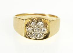 14K Yellow Gold 0.42 Ctw Diamond Floral Cluster Squared Design Ring