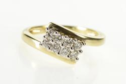 14K Yellow Gold Diamond Squared Cluster Freeform Bypass Band Ring