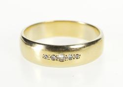 14K Yellow Gold 6.6mm Classic Men's Diamond Wedding Band Ring