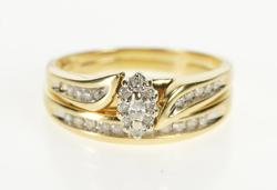 14K Yellow Gold Marquise Diamond Encrusted Bridal Engagement Ring