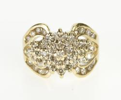 14K Yellow Gold Retro Diamond Encrusted Cluster Fashion Pinky Ring