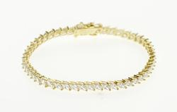 14K Yellow Gold Marquise Cubic Zirconia Encrusted Tennis Bracelet