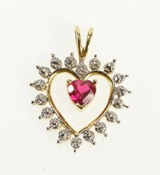 10K Yellow Gold Heart Cut Syn. Ruby Diamond Accent Romantic Pendant