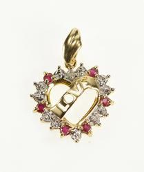 10K Yellow Gold Love Banner Ruby Diamond Heart Anniversary Pendant