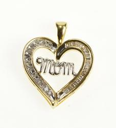 10K Yellow Gold Diamond Channel Heart Love Mom Mother's Day Pendant