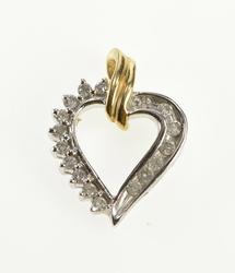 14K White Gold 0.20 Ctw Diamond Inset Two Tone Heart Pendant