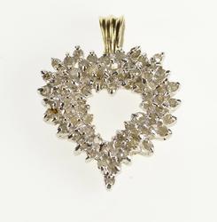 10K Yellow Gold Diamond Cluster Heart Anniversary Gift Pendant