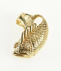 14K Yellow Gold 3D Ornate Diamond Inset Fish Fashion Pendant
