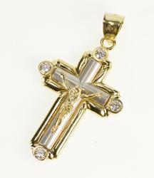 10K Yellow Gold Ornate Two Tone Diamond Cross Christian Faith Pendant