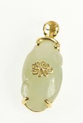 14K Yellow Gold Carved Jade Scroll Floral Overlay Pendant