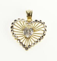 10K Yellow Gold Retro Heart Cut Cubic Zirconia Burst Filigree Pendant