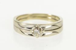 14K White Gold Retro Diamond Solitaire Bridal Engagement Set Ring