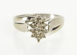10K White Gold Marquise Diamond Retro Cluster Freeform Ring