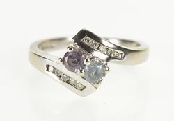 14K White Gold Amethyst Blue Topaz Diamond Accent Bypass Ring