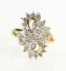 10K Yellow Gold Curvy Diamond Cluster Freeform Petal Cocktail Ring