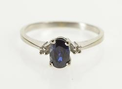 10K Yellow Gold Oval Sapphire Diamond Accent Engagement Ring