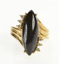 10K Yellow Gold Black Onyx Cabochon Diamond Accent Freeform Ring
