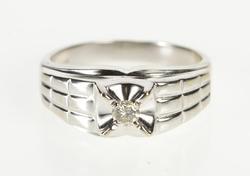 14K White Gold Ornate Men's Diamond Solitaire Wedding Band Ring