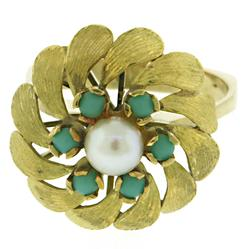 Vintage Pearl & Turquoise Flower Ring