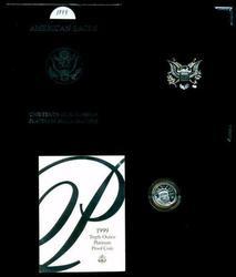 Gem Ultra Cameo PRF 1999-W $10 pure Platinum Eagle. Box