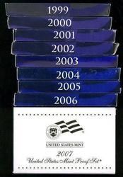 1999-2007 9 Different Modern US Proof Sets
