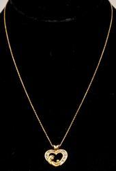 Mother & Child Heart Pendant & Chain, 10KT/14KT