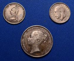 Nicer British Coin Lot, 1839 Shilling, 1887 & 1911 3d