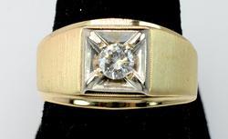 14KT Men's Diamond Solitaire Ring