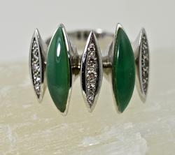 Designer 18K Chrysoprase & Diamond Ring