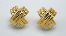 14KT Large Yellow Gold X Earrings