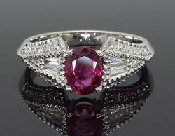 Ruby and Diamond Cocktail Ring in 18K White Gold