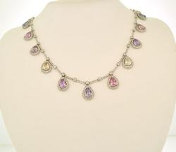 15+ cttw Natural Multi Color Sapphire Necklace in 18K