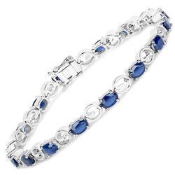 7+ Carat Genuine Blue Sapphire Tennis Bracelet