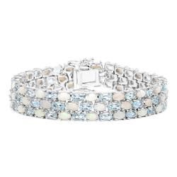 Gorgeous Genuine Opal & Blue Topaz Bracelet, 20+ CTW